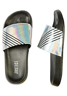 Shop Holographic Glitter Slides and other trendy girls sandals shoes at Justice. Find the cutest girls shoes to make a statement today. Cute Girl Shoes, Girls Shoes, Kids Outfits Girls, Girl Outfits, 10 Year Old Gifts, Cute Slides, Glitter Slides, Justice Clothing, Shoes