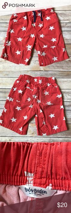 Baby Boden Size 2-3 Baby Boden red star shorts. 100% cotton. Elastic waistband. Very good to good condition for light washer fade. No stains. Mini Boden Bottoms Shorts