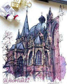 Akihito Horigome (@horiaki2) в Instagram: «ドイツ・アーヘン大聖堂 — Aachen Cathedral , Germany #aquarell #art #painting #watercolor #watercolour #sketch #paint #drawing #sketching #sketchbook #travelbook #archisketcher #sketchaday #sketchwalker #sketchcollector #traveldiary #topcreator #usk #urbansketch #urbansketchers #скетчбук #скетч #скетчинг #pleinair #aquarelle #watercolorsketch #usk #architecture #painting #illustration