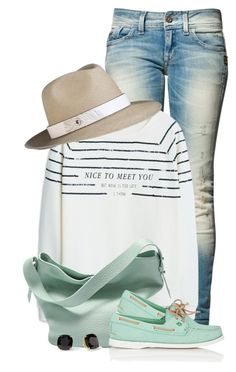 """Mint - Bag & Shoes"" by colierollers ❤ liked on Polyvore featuring G-Star Raw, MANGO, Skagen, Sperry, The Season Hats and Kate Spade"