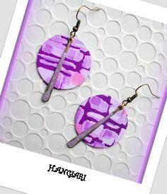 alittlemarket/Paire de boucles d'oreilles seventies graphiques rose, violet, ronde : Boucles d'oreille par boucles-d-oreilles-originales-insolites