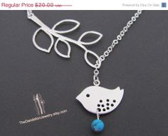 SALE 15% OFF Branch and bird lariat necklace with howlite turquoise in white gold, Bird necklace, branch necklace, bird pendant, jewelry