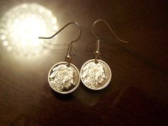Freedom Indian / Buffalo Silver Dangle Earrings by gr8byz on Etsy, $15.00