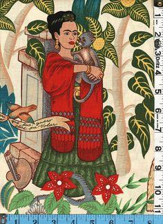 Fabric Henry FRIDA'S GARDEN on natural Frida Kahlo by fabricsmart http://www.etsy.com/shop/fabricsmart