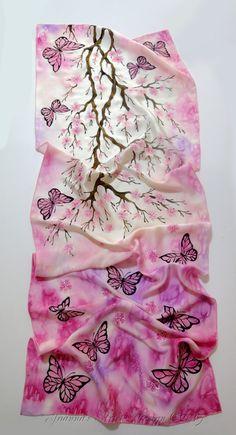 "Hand painted silk scarf - ""Sakura""- flower scarf-cherry tree scarf-pink scarf-Cherry blossoms"