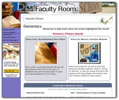 March 2013 - Women's History Month  BASCOM's Faculty Room offers K-5 educators resources to teach about Women's History and other monthly celebrations