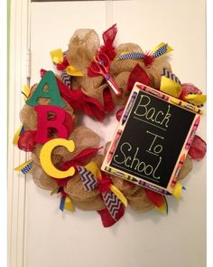 ABC letters and chalkboard are the perfect accents on this Back to school burlap wreath | CraftOutlet.com Photo Contest