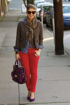 Dotted chambray, red cords, wool blazer, a dash of purple and leopard.
