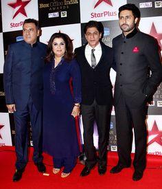 Boman Irani, Farah Khan, Shah Rukh Khan and Abhishek Bachchan at STAR Box Office Awards. #Bollywood #Fashion #Style #Beauty #Handsome