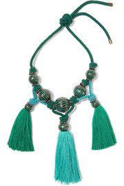 Plastron tasseled enameled brass necklace
