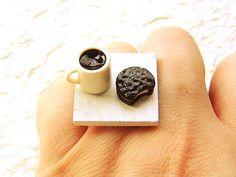 Kawaii Food Jewelry Ring Coffee Cookie