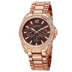 August Steiner Women's Crystal Quartz Multifunction Bracelet Watch