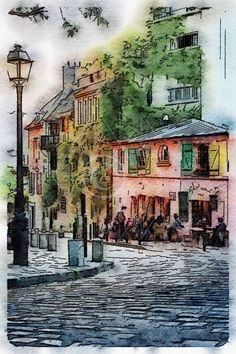 La Maison Rose Montmartre Paris France  Printable Art by edeblas