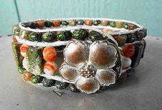 SOLD - Rhyolite-Russian Jade-Autumn Jasper-Czech Glass 3 Row Leather Cuff  | GemOnAWire - Jewelry on ArtFire