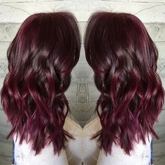 Rich dark chocolate brunette with berry red highlights by Masey of Butterfly Loft Salon www.hotonbeauty.com