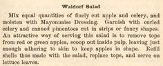 Enjoy authentic waldorf salad with this recipe provided by The Henry Ford. Browse the Historic Recipe Bank for more delicious recipes from America's past. Cold Side Dishes, Waldorf Salad, Henry Ford, Cooking School, Yummy Food, Delicious Recipes, Tasty Dishes, Cooking Recipes, Dressings