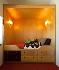 Bed designed by Andrea Zittel, built by TK Smith Parasitic Architecture, Plywood Shelves, Shelter Tent, Bed Design, Bathroom Ideas, Beds, Interiors, Living Room, Storage