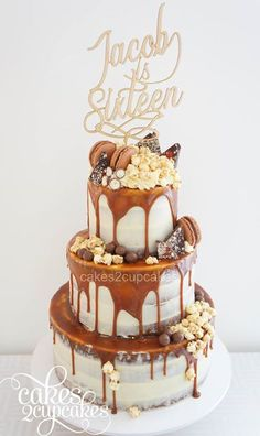 Cakes 2 Cupcakes: Salted caramel cake with caramel popcorn,chocolate shards, macarons, maltesers and caramel sauce.