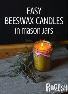 Beeswax candles made in mason jars are attractive and add beauty anywhere they are used. Jar candles are an easy candle craft for beginners to make. (Diy Soap For Beginners) Mason Jar Candles, Beeswax Candles, Candle Wax, Diy Candles, Mason Jar Diy, Diy Organic Candles, Candle Decorations, Scented Candles, Candle Making For Beginners
