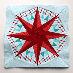 Finished paper piecing star from Wombat Quilts (pattern is not hers, but the finished block is!).