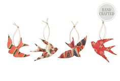 S/4 Silhouette Bird Ornaments - Can easily be a #diy with decorative paper and chip board!
