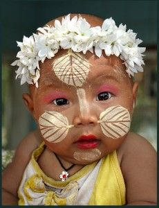Painted faces of Burmese Children