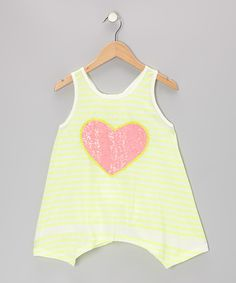 Take a look at this Neon Yellow Stripe Heart Skater Girl Tunic - Toddler & Girls on zulily today!