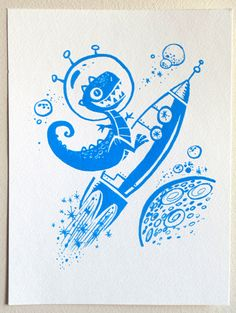 Dinosaur in Space Silkscreen Art Print - bright blue ink - 9 in x 12 in. $12.00, via Etsy.