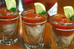 """Low sodium Oyster Shooters using Bloody Mary mix from """"Scales Coctails"""" Seafood Dishes, Fish And Seafood, Seafood Recipes, Caviar, Oyster Shooter, Low Carb Recipes, Cooking Recipes, Oyster Recipes, Sandwiches"""