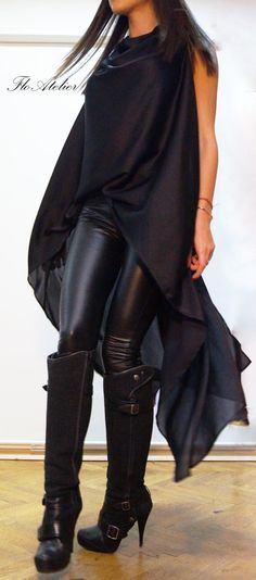 Loose Black Tunic/Asymmetrical Black Tunic/Summer Black Top/Extravagant BlackTunic Top/F1398 by FloAtelier on Etsy https://www.etsy.com/uk/listing/211602154/loose-black-tunicasymmetrical-black