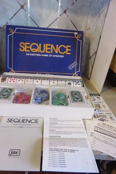 SEQUENCE DELUXE Edition Exciting Game of Strategy 1995 JAX Board Game Complete #JAX