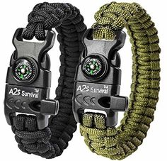 "Pin this A2S Paracord Bracelet K2-Peak Series - High Quality Survival Gear Kit with Embedded Compass, Fire Starter, Emergency Knife & Whistle - Pack of 2 - Slim Buckle Design Hiking Gear (Black / Green 8.5"")"