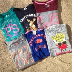 Cute tee collection Price for all! Adorable tee collection. Size xs. Companies Abercrombie, Aeropostale, target. All short sleeve, one sleeveless & one long in great condition! Abercrombie & Fitch Tops Tees - Short Sleeve