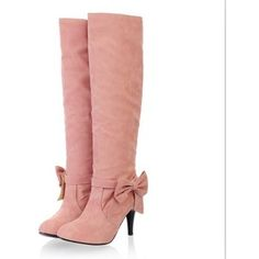 Plus Size Stylish Bowknot Embellished High Heel Boots Pink - Polyvore