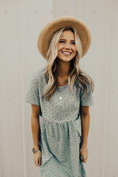 Light Blue Spring Dress with Gathered Waist | ROOLEE