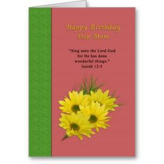 Birthday, Step Mom, Yellow Daisies, Religious Greeting Cards