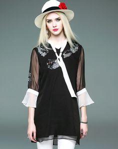 #VIPme Black Silk Print Trumpet Sleeve Long Blouse. Get more fashion inspiration at VIPme.com.