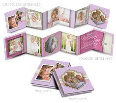 PHOTOBOOK - PRETTY PASTEL - Photoshop Templates for Photographers 3x3 Accordion Mini Book (10) Customizable Panels Plus Cover Design