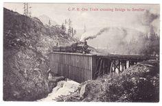 BC – GRAND FORKS, C.P.R. Ore Train Crossing Bridge to Smelter c.1900s PPC
