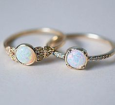 Australian Opal beauties side by side. Our Edwardian inspired ring with Yellow Australian Diamonds and our Else Secret Diamond ring with a gorgeous white Opal. ✨ both rings are Recycled Gold and handcrafted here in freezing cold NYC. Cute Jewelry, Jewelry Box, Jewelery, Jewelry Accessories, Jewelry Ideas, Jewelry Stores, Jewellery Stand, Jewellery Shops, Jewelry Rings