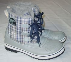 Womens Sorel Winter Boots Size 11 Gray Waterproof Plaid Excellent Condition | eBay