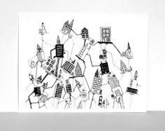 Ursprünglich zum Preis von $25, habe ich den Druck um 60 % auf den aktuellen Preis von $10 abgezinst.  Diese Szene ist voller Häuser, Gebäude, Stelzen, Treppen, Leitern und Stützbalken, die alle versuchen, die Stadt davon abhalten, umzufallen. Von hand gezeichnet, reicht jede Struktur in der Größe und Textur. Die ungewöhnliche Architektur und negativen Räume erstellt von allen Seiten in diesem Werk machen es attraktiv und faszinierend.  Dieser Druck von einer Originalzeichnung wurde gedruckt…