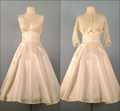 vintage princess length wedding dresses | Vintage 1950s Wedding Dress...Lovely Ivory Tea Length FRED PERLBERG ...