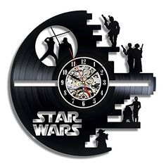 Vinyl Evolution Star Wars Death Star Designed Wall Clock - Decorate Your Home with Modern Large Darth Vader and Luke Skywalker Art - Best Gift for Friend, Man and boy - Win a Prize for Feedback Star Wars Wall Art, Star Wars Decor, Star Wall, Vinyl Record Clock, Record Wall, Vinyl Records, Vinyl Music, Wall Clock Gift, Wall Clocks