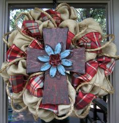 BURLAP WREATH with RUSTIC Cross. Urbina imma need you to help me make this with that 3 yds of green burlap i have! Burlap Crafts, Wreath Crafts, Diy Wreath, Wreath Ideas, Burlap Wreaths, Door Wreaths, Cute Crafts, Crafts To Make, Arts And Crafts