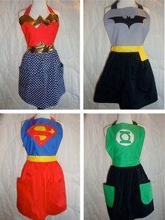 Cute gift for your super-heroine BFFs. I could totally work the Wonder Woman apron! Do It Yourself Baby, Do It Yourself Fashion, Learn To Sew, How To Make, How To Wear, Mode Geek, Sewing Crafts, Sewing Projects, Wonder Women