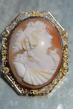 Antique 10K Yellow Rose Gold Filigree Hand Carved Cameo Pin Pendant Brooch | eBay
