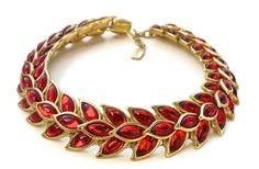 Vintage YVES SAINT LAURENT Ruby Wheat Necklace by Robert