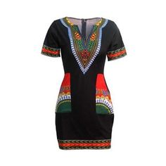 Dashiki Print Pocket Design Black Dress ($26) ❤ liked on Polyvore featuring dresses, black, sleeved dresses, patterned mini dress, short sleeve mini dress, mini dress and short sleeve sheath dress