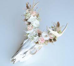 Salvaged Deer Skull w/Preserved Flower Crown